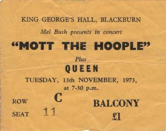 Ticket stub - Queen live at the King George's Hall, Blackburn, UK [13.11.1973]