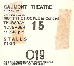 Ticket stub - Queen live at the Gaumont, Worcester, UK [15.11.1973]