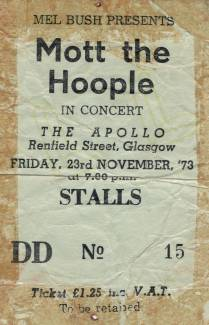 Ticket stub - Queen live at the Apollo Theatre, Glasgow, UK [23.11.1973]