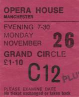 Ticket stub - Queen live at the Opera House, Manchester, UK [26.11.1973]