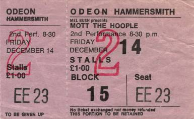 Ticket stub - Queen live at the Hammersmith Odeon, London, UK (2nd gig) [14.12.1973 (2nd gig)]