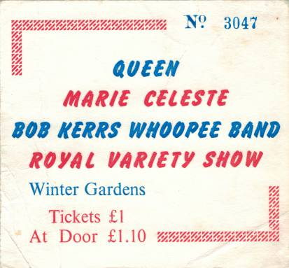 Ticket stub - Queen live at the Winter Gardens, Blackpool, UK [01.03.1974]