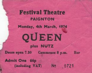 Ticket stub - Queen live at the Festival Hall, Paignton, UK [04.03.1974]