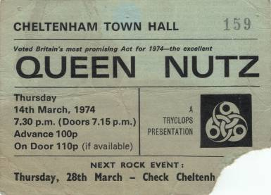 Ticket stub - Queen live at the Cheltenham Town Hall, Cheltenham, UK [14.03.1974]