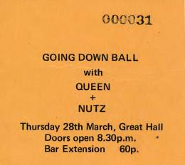 Ticket stub - Queen live at the University, Aberystwyth, UK [28.03.1974]