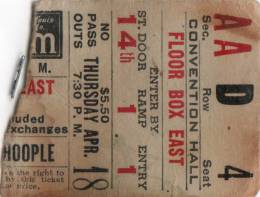 Ticket stub - Queen live at the Kiel Auditorium, St. Louis, MO, USA [18.04.1974]