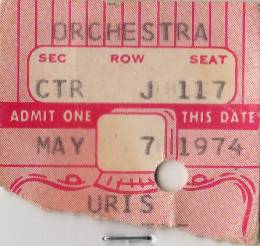 Ticket stub - Queen live at the Uris Theatre, New York, NY, USA [07.05.1974]
