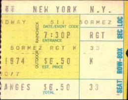 Ticket stub - Queen live at the Uris Theatre, New York, NY, USA [11.05.1974]