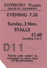 Ticket stub - Queen live at the Theatre, Coventry, UK [03.11.1974]