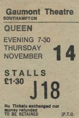 Ticket stub - Queen live at the Gaumont, Southampton, UK [14.11.1974]
