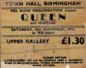 Ticket stub - Queen live at the Town Hall, Birmingham, UK [16.11.1974]