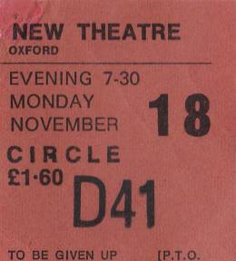 Ticket stub - Queen live at the New Theatre, Oxford, UK [18.11.1974]
