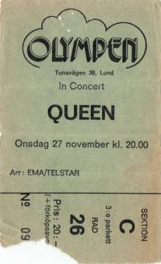 Ticket stub - Queen live at the Olympen, Lund, Sweden [27.11.1974]