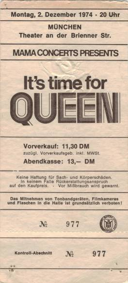 Ticket stub - Queen live at the Brienner Theater, Munich, Germany [02.12.1974]