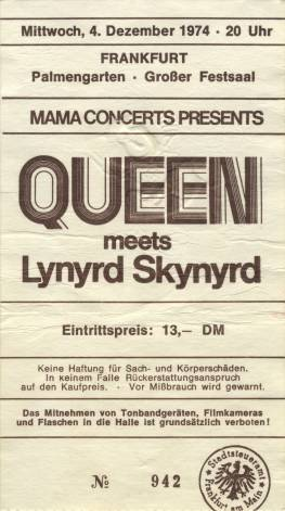 Ticket stub - Queen live at the Palmengarten, Frankfurt, Germany [04.12.1974]