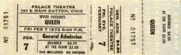 Ticket stub - Queen live at the Palace Theatre, Dayton, OH, USA [07.02.1975]