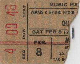 Ticket stub - Queen live at the Music Hall, Cleveland, OH, USA (2nd gig) [08.02.1975 (2nd gig)]