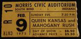 Ticket stub - Queen live at the Morris Civic Auditorium, South Bend, IN, USA [09.02.1975]