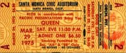 Ticket stub - Queen live at the Santa Monica Civic Auditorium, Santa Monica, CA, USA (1st gig) [29.03.1975 (1st gig)]