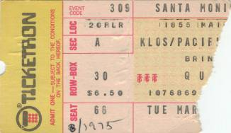 Ticket stub - Queen live at the Santa Monica Civic Auditorium, Santa Monica, CA, USA (2nd gig) [29.03.1975 (2nd gig)]