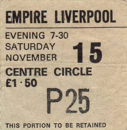 Ticket stub - Queen live at the Empire Theatre, Liverpool, UK [15.11.1975]