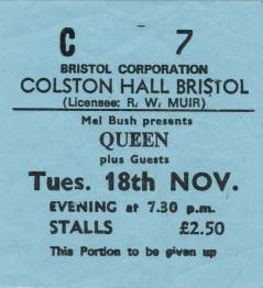 Ticket stub - Queen live at the Colston Hall, Bristol, UK [18.11.1975]