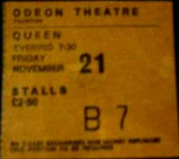 Ticket stub - Queen live at the Odeon, Taunton, UK [21.11.1975]