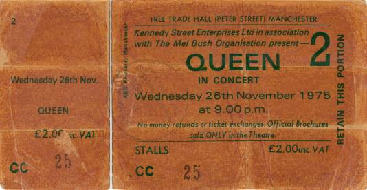 Ticket stub - Queen live at the Free Trade Hall, Manchester, UK (2nd gig) [26.11.1975 (2nd gig)]