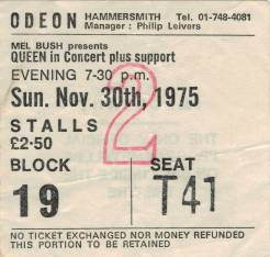 Ticket stub - Queen live at the Hammersmith Odeon, London, UK [30.11.1975]
