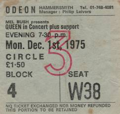 Ticket stub - Queen live at the Hammersmith Odeon, London, UK [01.12.1975]