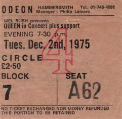 Ticket stub - Queen live at the Hammersmith Odeon, London, UK [02.12.1975]