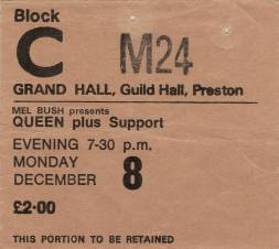 Ticket stub - Queen live at the Guildhall, Preston, UK [08.12.1975]