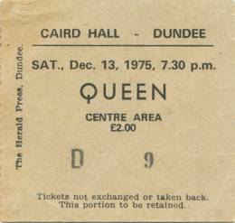 Ticket stub - Queen live at the Caird Hall, Dundee, UK [13.12.1975]