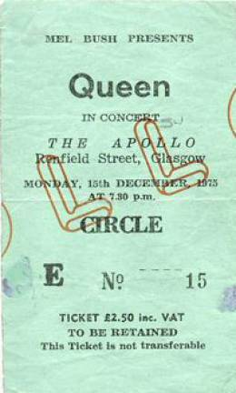 Ticket stub - Queen live at the Apollo Theatre, Glasgow, UK [15.12.1975]