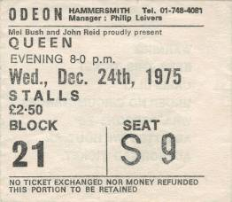 Ticket stub - Queen live at the Hammersmith Odeon, London, UK [24.12.1975]