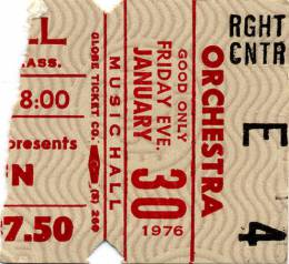 Ticket stub - Queen live at the Music Hall, Boston, MA, USA [30.01.1976]