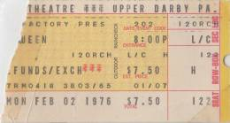 Ticket stub - Queen live at the Tower Theatre, Philadelphia, PA, USA [02.02.1976]