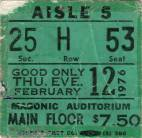 Ticket stub - Queen live at the Masonic Temple, Detroit, MI, USA [12.02.1976]