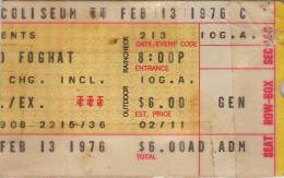 Ticket stub - Queen live at the Riverfront Coliseum, Cincinnati, OH, USA [13.02.1976]