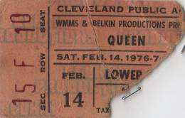 Ticket stub - Queen live at the Public Hall, Cleveland, OH, USA [14.02.1976]