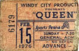 Ticket stub - Queen live at the Sports Arena, Toledo, OH, USA [15.02.1976]