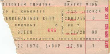 Ticket stub - Queen live at the Auditorium Theater, Chicago, IL, USA [22.02.1976]