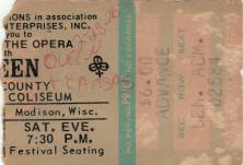 Ticket stub - Queen live at the Dane County Coliseum, Madison, WI, USA [28.02.1976]