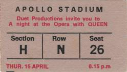 Ticket stub - Queen live at the Apollo Stadium, Adelaide, Australia [15.04.1976]