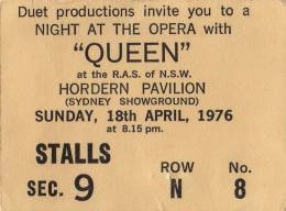 Ticket stub - Queen live at the Hordern Pavilion, Sydney, Australia [18.04.1976]