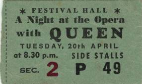 Ticket stub - Queen live at the Festival Hall, Melbourne, Australia [20.04.1976]