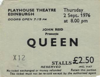 Ticket stub - Queen live at the Playhouse Theatre, Edinburgh, UK [02.09.1976]