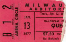 Ticket stub - Queen live at the Auditorium, Milwaukee, WI, USA [13.01.1977]