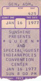 Ticket stub - Queen live at the Convention Centre, Indianapolis, IN, USA [16.01.1977]
