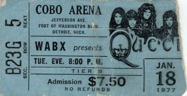 Ticket stub - Queen live at the Cobo Hall, Detroit, MI, USA [18.01.1977]